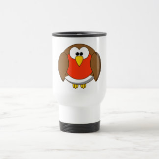 Cute and Crazy Robin Red Breast Cartoon Bird Stainless Steel Travel Mug