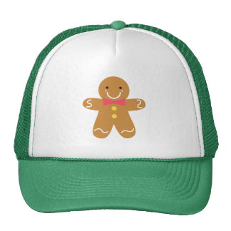 Cute and Happy Gingerbread Man for Christmas Cap