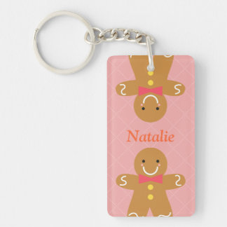 Cute and Happy Gingerbread Man for Christmas Single-Sided Rectangular Acrylic Key Ring