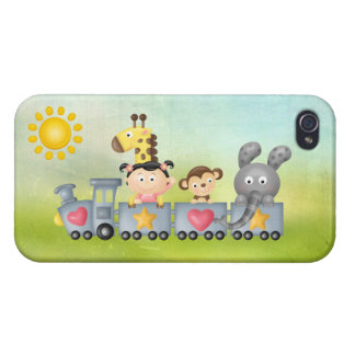 Cute Animals & Girl on Train iPhone 4/4S Case