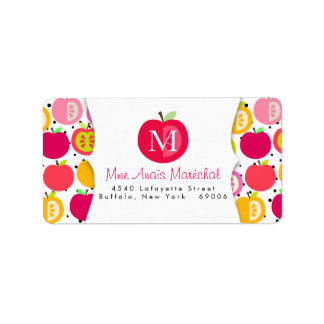 Cute Apples Pattern Teachers Kids Personalized Address Label