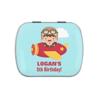 Cute Aviator Boy Airplane Birthday Party Treats Jelly Belly Candy Tin