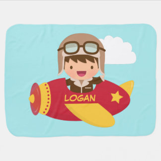 Cute Aviator Boy Airplane For Baby Boys Baby Blanket