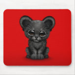 Cute Baby Black Panther Cub on Red Mouse Pad