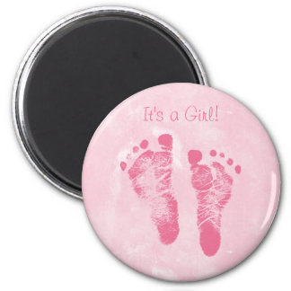 Cute Baby Girl Footprints Birth Announcement 6 Cm Round Magnet