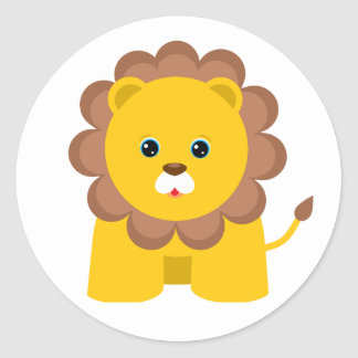 Cute Baby Lion Round Sticker