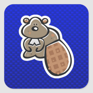 Cute Beaver; Blue Square Sticker