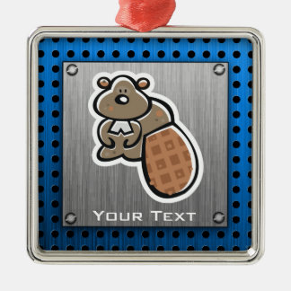 Cute Beaver; Metal-look Silver-Colored Square Decoration