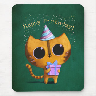 Cute Birthday Cat Mouse Pad