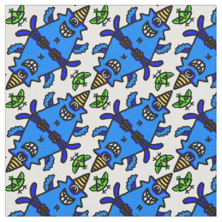 Cute Blue Cyclops Monster and Bird personalizable Fabric