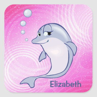Cute Blue Dolphin To Personalize Square Sticker