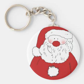 Cute Blushing Santa Basic Round Button Key Ring