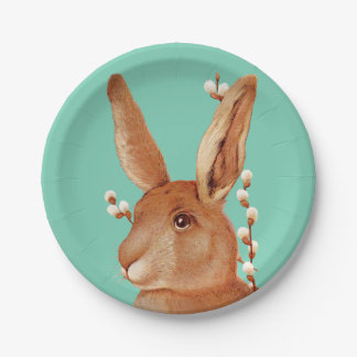 Cute Bunny and Pussy Willow Easter 7 Inch Paper Plate