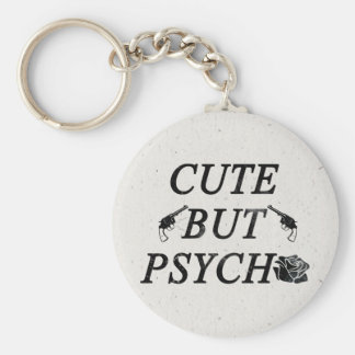 Cute but psycho basic round button key ring