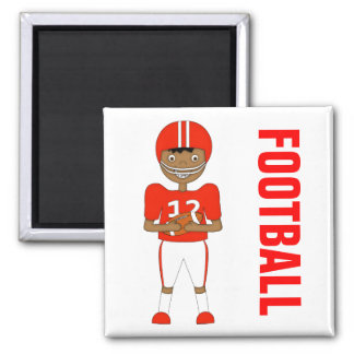 Cute Cartoon American Football Player in Red Kit Square Magnet