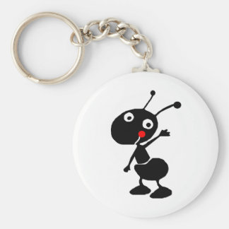cute cartoon ant basic round button key ring