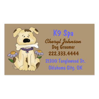 Cute Cartoon Dog Groomer Business Card