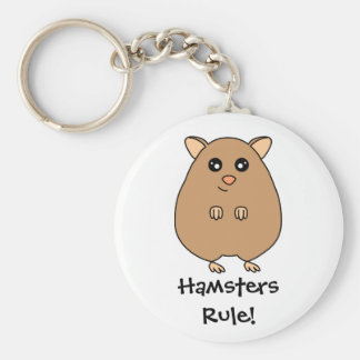 Cute Cartoon Hamster Basic Round Button Key Ring