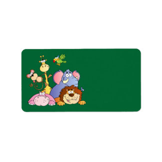 Cute Cartoon Jungle Animals Address Label