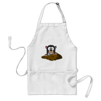 Cute Cartoon Mole Popping Up Out of the Ground Standard Apron