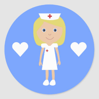 Cute Cartoon Nurse & Hearts Customizable Blue Round Sticker