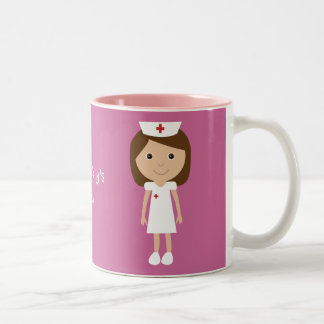 Cute Cartoon Nurse Personalized Pink Two-Tone Mug