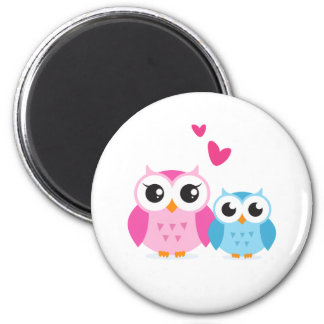 Cute cartoon owls with hearts 6 cm round magnet