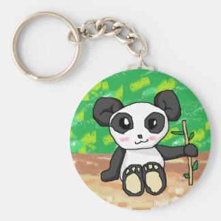 cute cartoon panda basic round button key ring