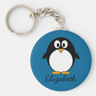cute cartoon penguin blue background basic round button key ring