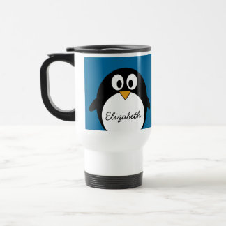 cute cartoon penguin blue background stainless steel travel mug