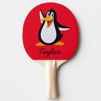 Cute Cartoon Penguin on Red with Name