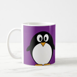 cute cartoon penguin purple basic white mug