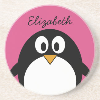 cute cartoon penguin with pink background coasters