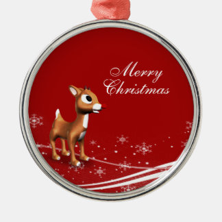 Cute Cartoon Reindeer Silver-Colored Round Decoration