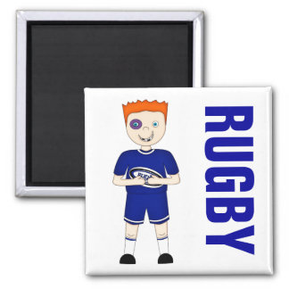 Cute Cartoon Rugby or Rugger Player in Blue Kit Square Magnet