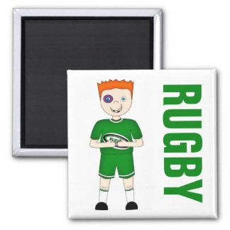 Cute Cartoon Rugby or Rugger Player in Green Kit Square Magnet