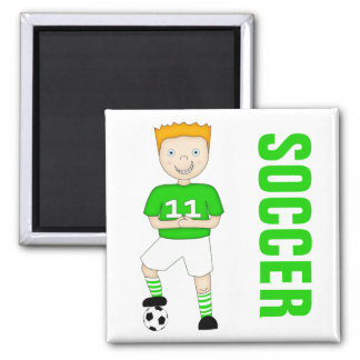 Cute Cartoon Soccer or Football Player Green Kit Square Magnet