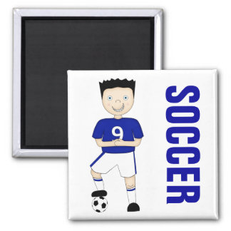 Cute Cartoon Soccer or Football Player in Blue Kit Square Magnet