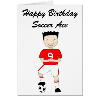 Cute Cartoon Soccer or Football Player in Red Kit Greeting Card