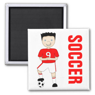 Cute Cartoon Soccer or Football Player in Red Kit Square Magnet