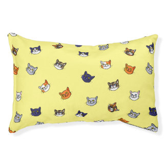 Cute Cat Drawing Different Breeds Pattern Cat Bed