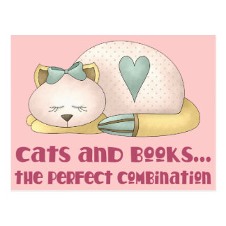 Cute Cats and Books T-shirt Postcard