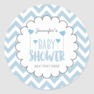 CUTE CHEVRON BABY BOY SHOWER STICKERS | CUSTOM