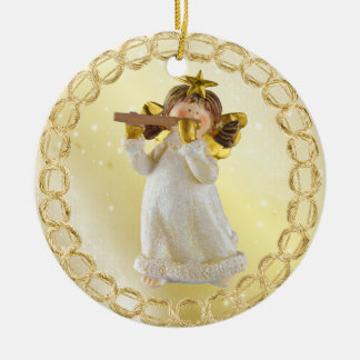 Cute Christmas Angel Playing Flute Ornament