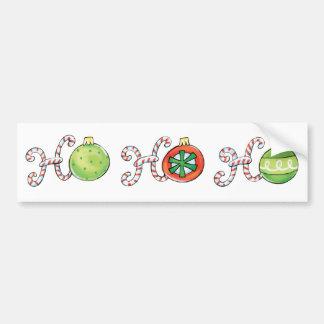 Cute Christmas Ho Ho Ho, Candy Canes Ornaments Bumper Sticker