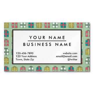 Cute Christmas Presents Pattern Magnetic Business Cards