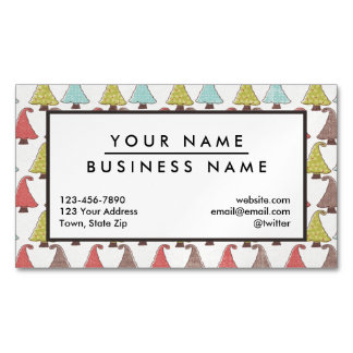 Cute Christmas Trees Pattern Magnetic Business Cards