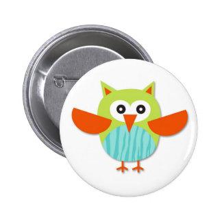 Cute colorful cartoon owl 6 cm round badge