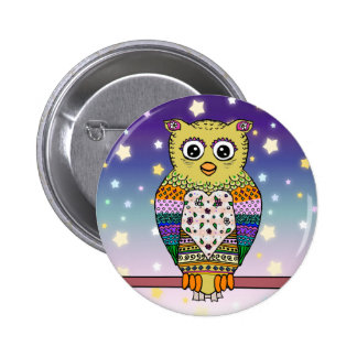 Cute Colorful Owl on star lit night 6 Cm Round Badge