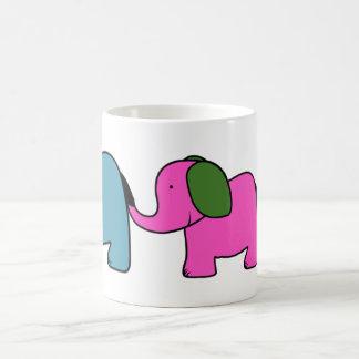 Cute colourful  elephant cartoons basic white mug